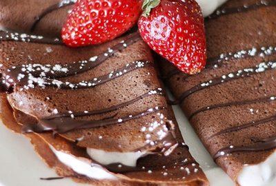 receta de crepas de chocolate